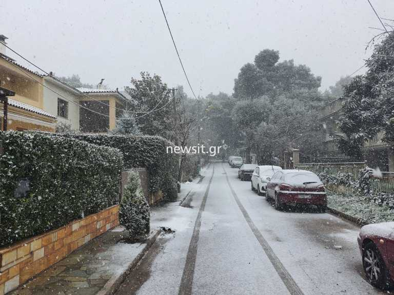 Καιρός: Νέες εικόνες από τα χιονισμένα βόρεια προάστια – Άσπρισαν Κηφισιά, Δροσιά, Ροδόπολη