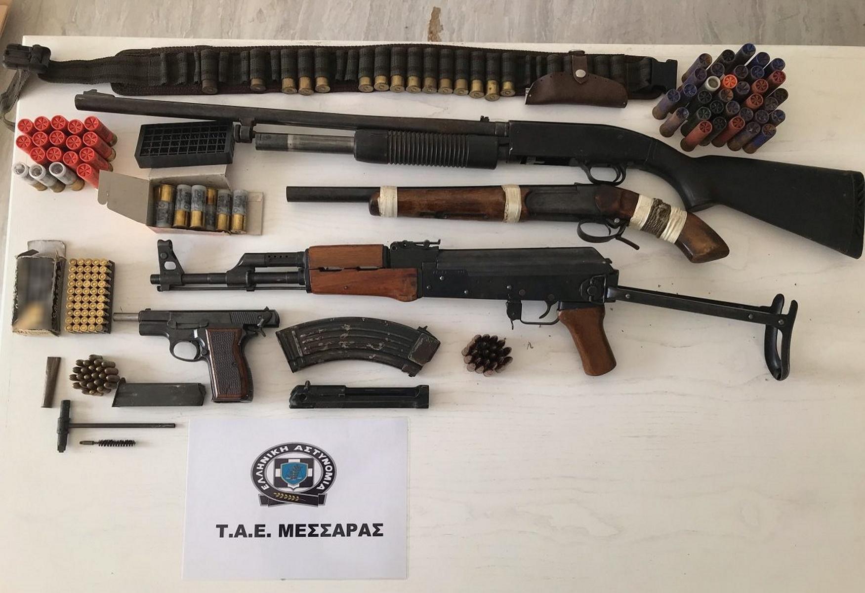 Κρήτη: Το μαντρί έκρυβε καλάσνικοφ, πιστόλια, καραμπίνες και εκατοντάδες σφαίρες (pic)