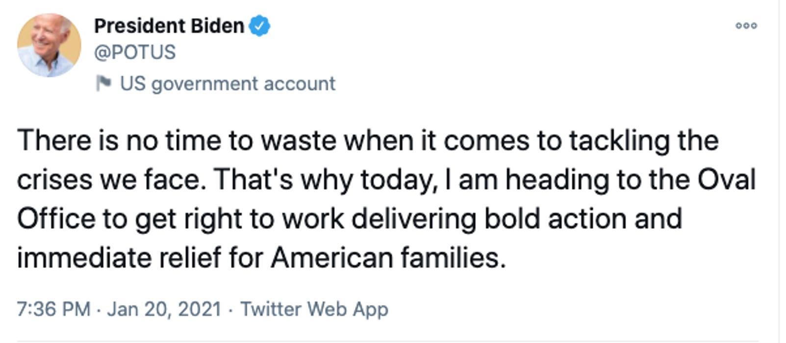 Το πρώτο tweet του νέου Προέδρου των ΗΠΑ Τζο Μπάιντεν
