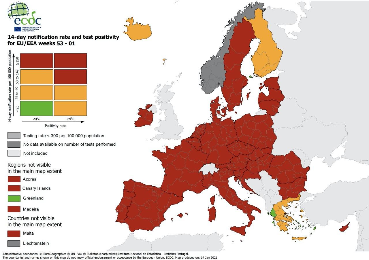 Κορονοϊός: Ο νέος χάρτης της πανδημίας στην Ευρώπη – Ούτε μια κόκκινη περιοχή στην Ελλάδα