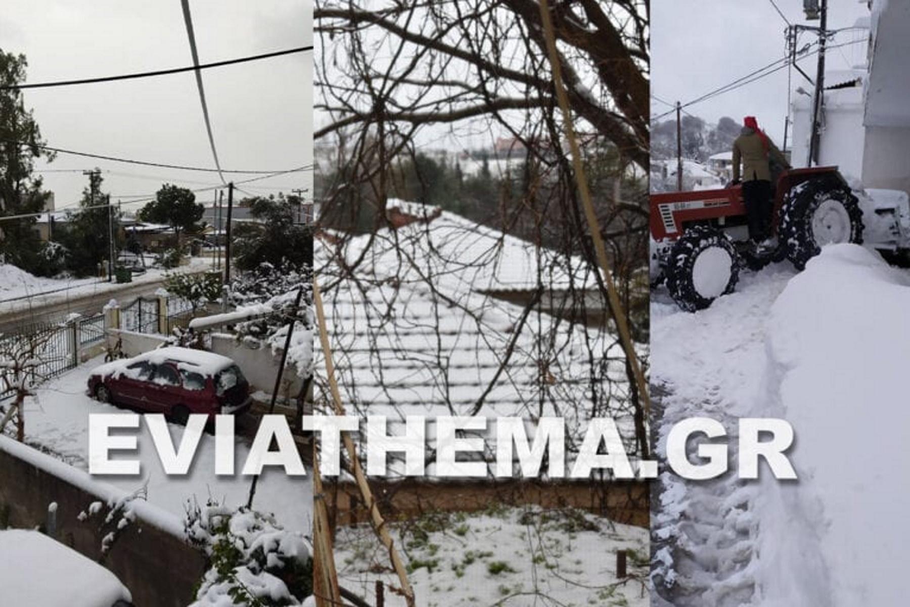 Καιρός – Εύβοια: Μέχρι και 2 μέτρα χιόνι – Κλειστοί δρόμοι και αντιολισθητικές αλυσίδες (pics, video)