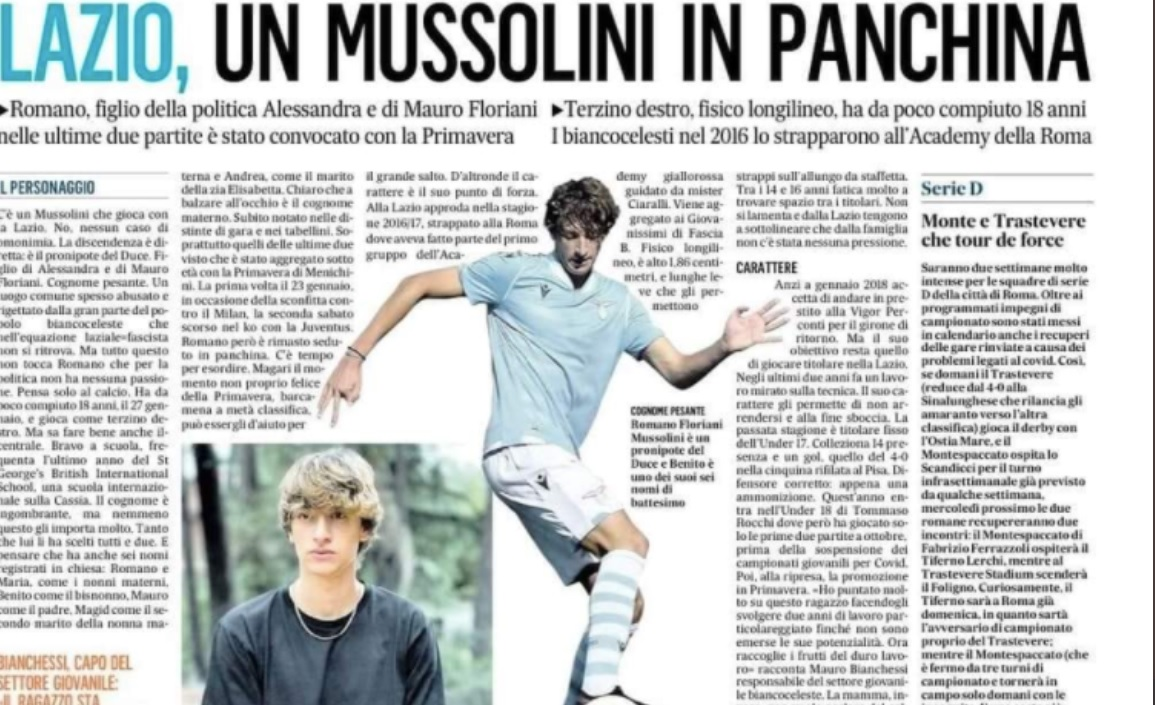 Ο δισέγγονος του Μπενίτο Μουσολίνι στη δεύτερη ομάδα της Λάτσιο