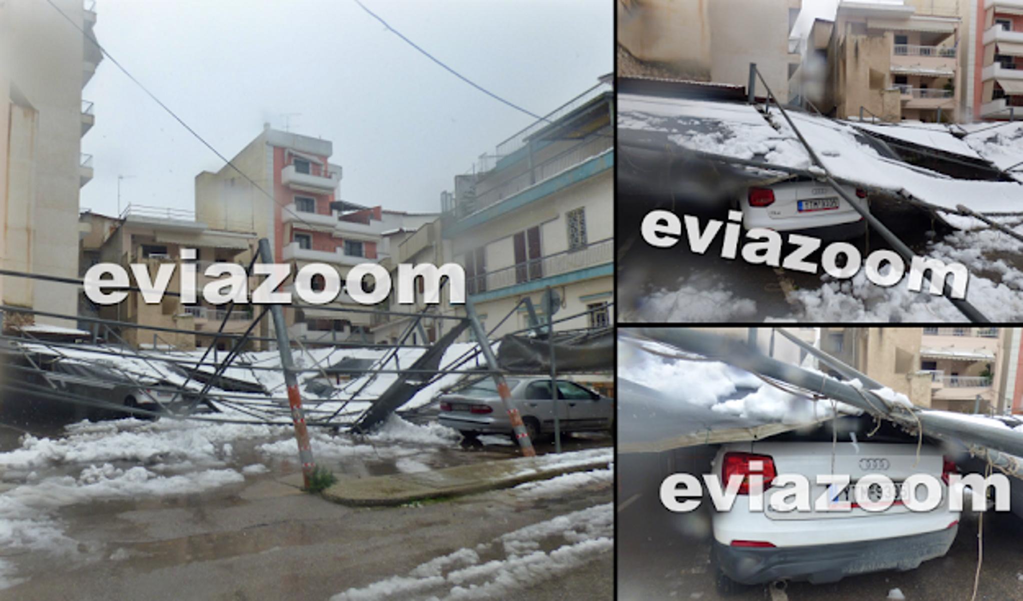 Καιρός – Χαλκίδα: Τα χιόνια καταπλάκωσαν επιχείρηση πάρκινγκ – Καταστράφηκαν αυτοκίνητα (pics, video)