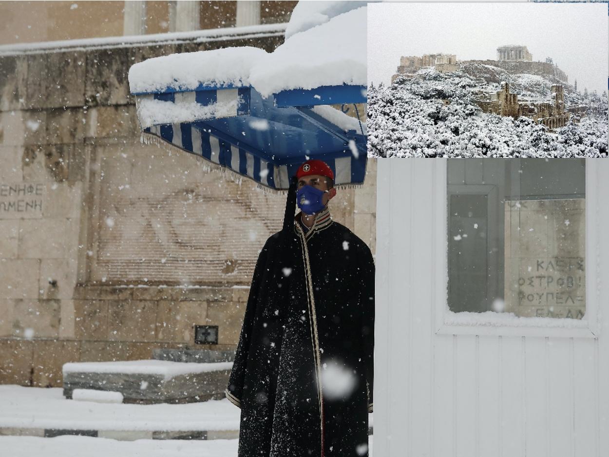 Κακοκαιρία Μήδεια: Η χιονισμένη Ακρόπολη και ο εύζωνας κλέβουν την παράσταση