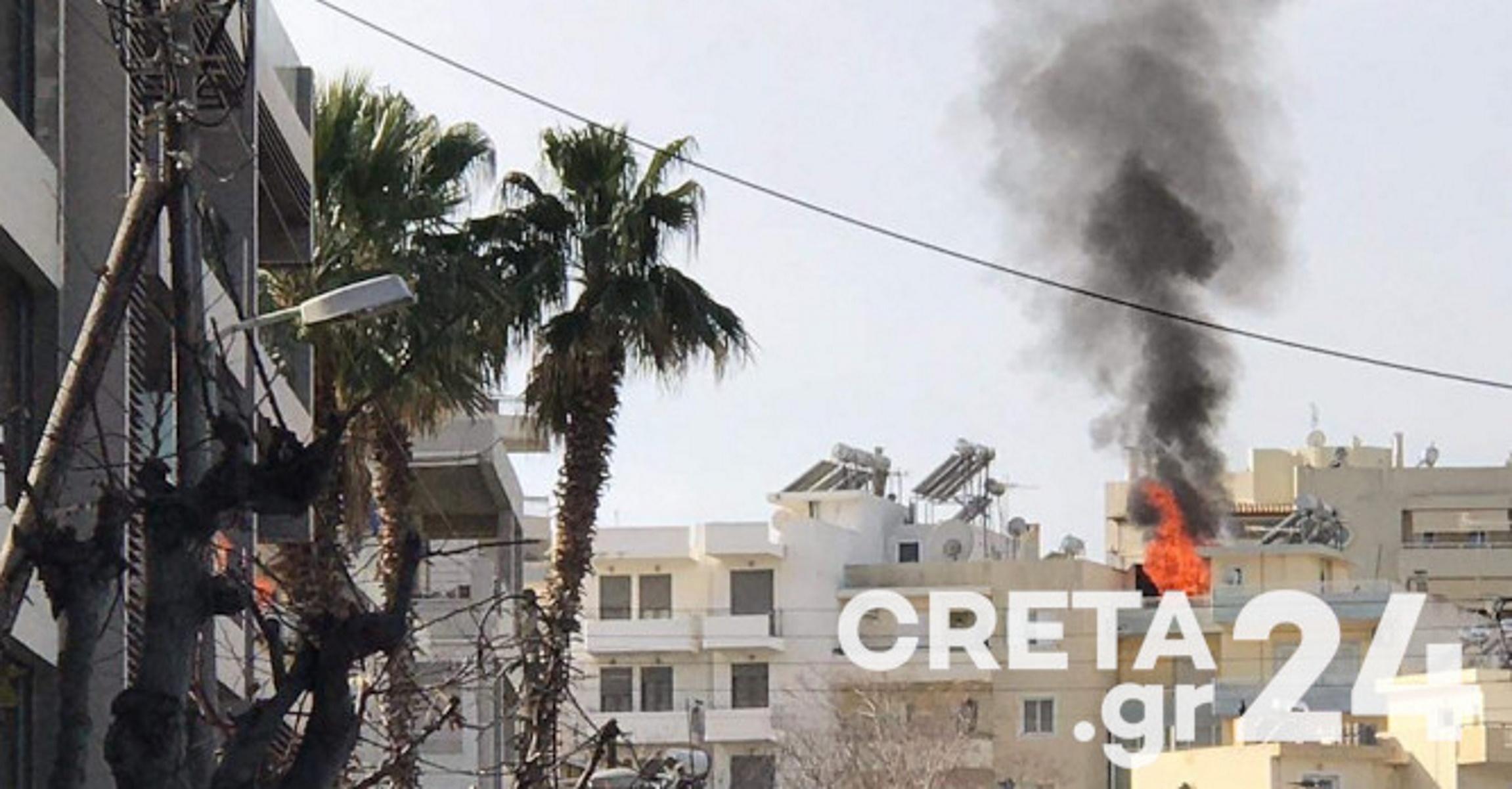 Ηράκλειο: Συναγερμός για φωτιά σε πολυκατοικία (pics)