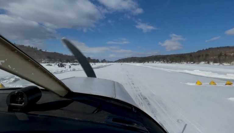 Παγωμένη λίμνη έγινε διάδρομος προσγείωσης – Απίστευτες εικόνες (video)