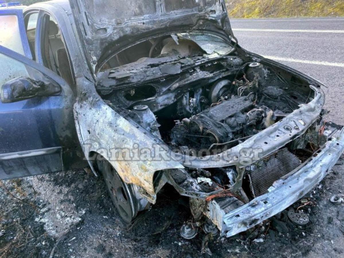 Λαμία: Αυτοκίνητο εκπαιδευτικών «λαμπάδιασε»την ώρα που πήγαιναν σχολείο (pics, vid)
