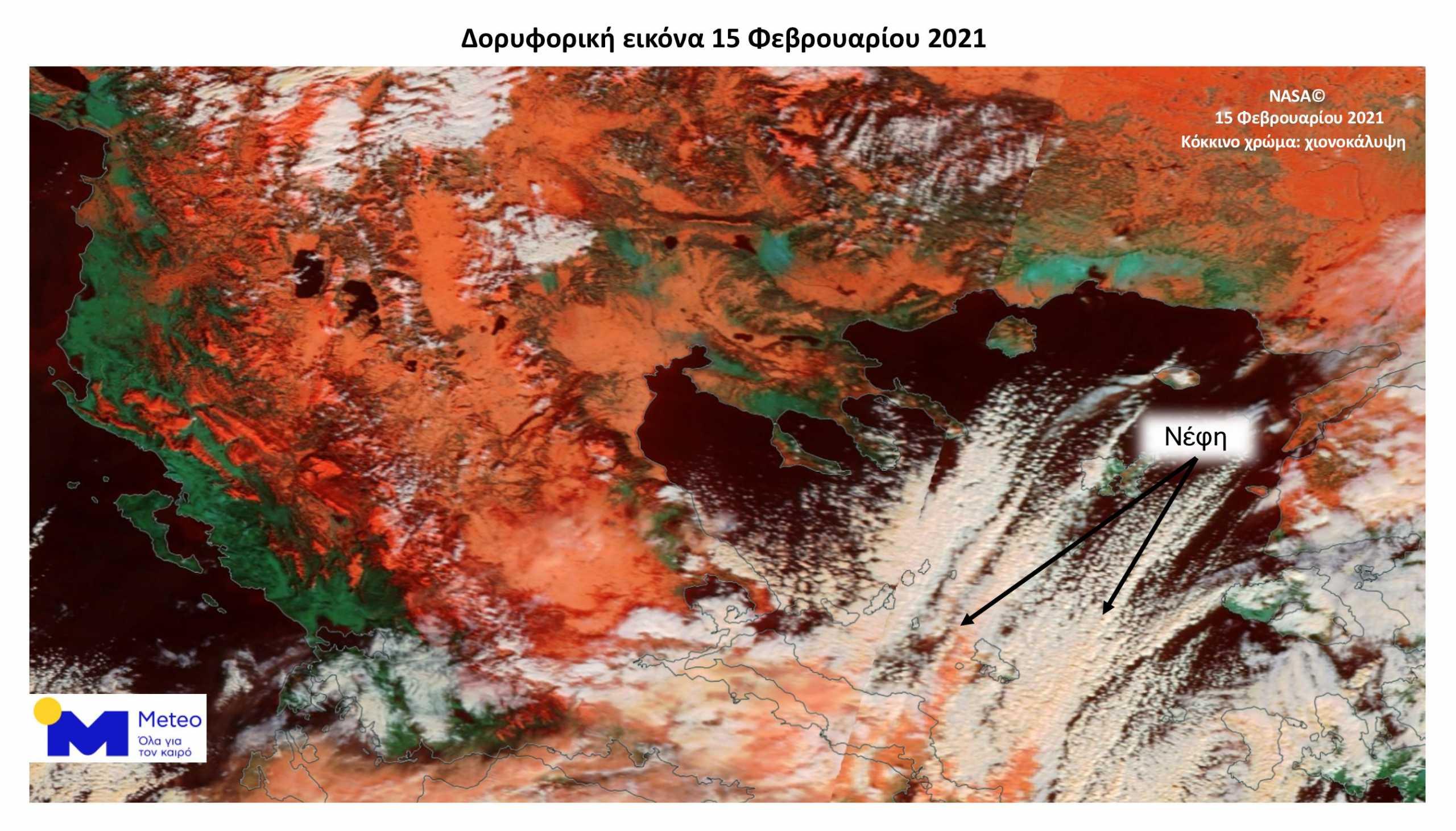 Καιρός – Κακοκαιρία Μήδεια: Η εικόνα με τα χιόνια από τον δορυφόρο της NASA