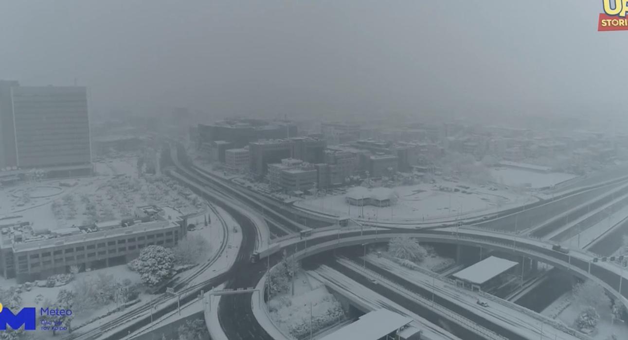 Κακοκαιρία Μήδεια: Η χιονισμένη Αττική από ψηλά! Υπέροχα βίντεο