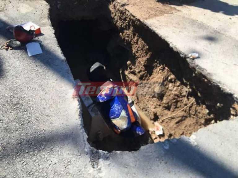 Πάτρα: Έπεσε με το μηχανάκι της σε φρεάτιο –Στο νοσοκομείο η 62χρονη οδηγός (pics)
