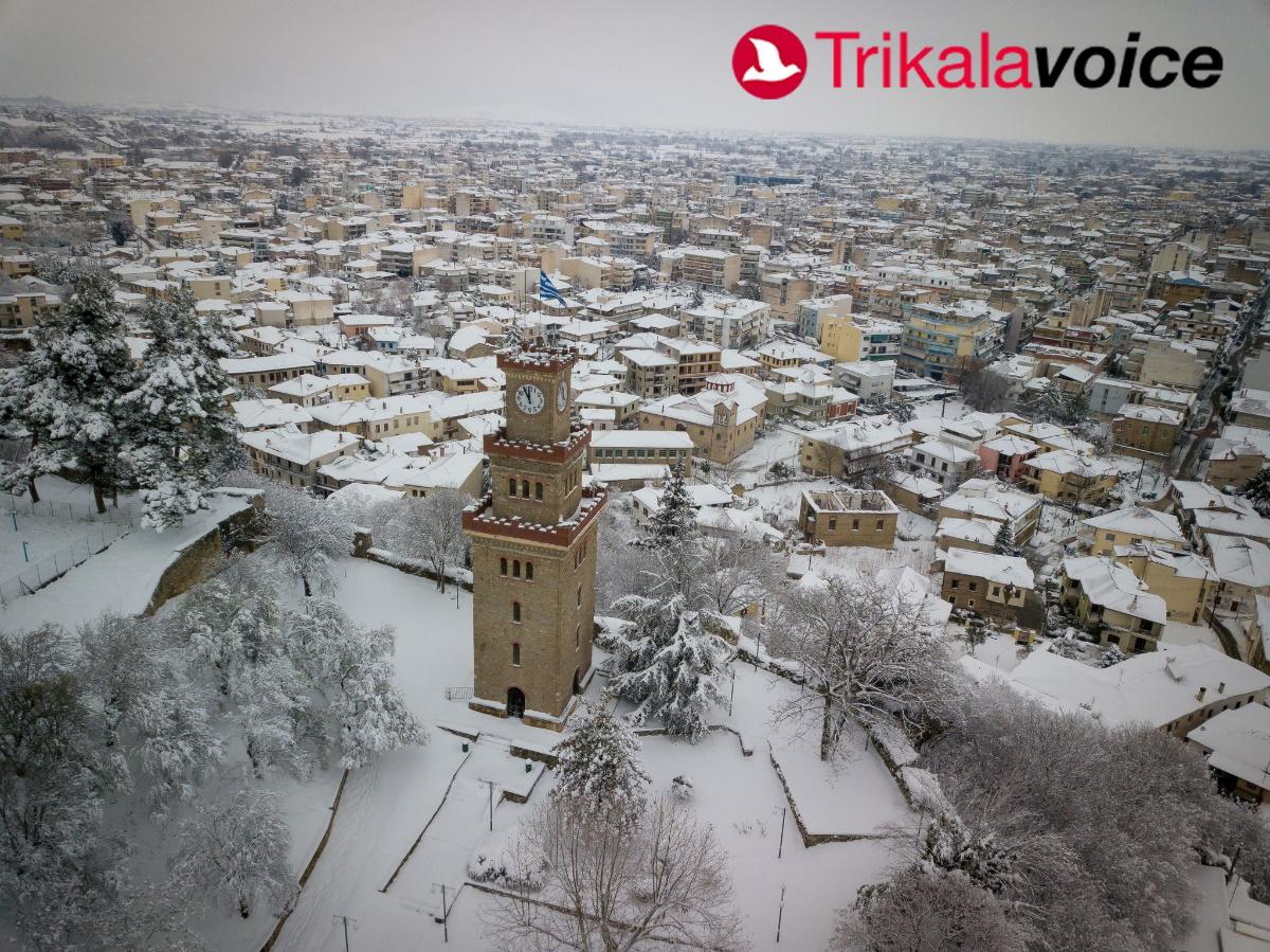Κακοκαιρία «Μήδεια»: Εντυπωσιακό βίντεο από τα χιονισμένα Τρίκαλα