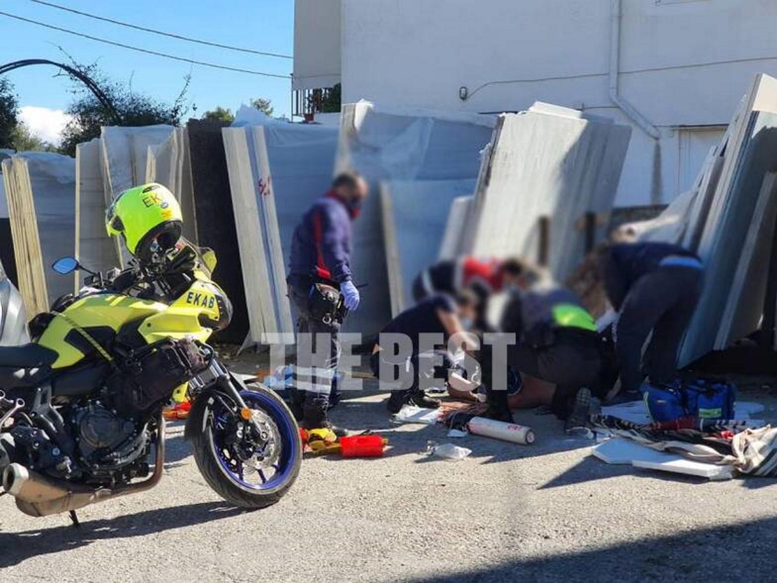 Πάτρα: 53χρονος καταπλακώθηκε από μάρμαρα – Τραυματίστηκε σοβαρά στο κεφάλι (pics)