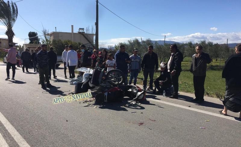 Αργολίδα: Τροχαίο με μηχανές – Δύο τραυματίες (pics)