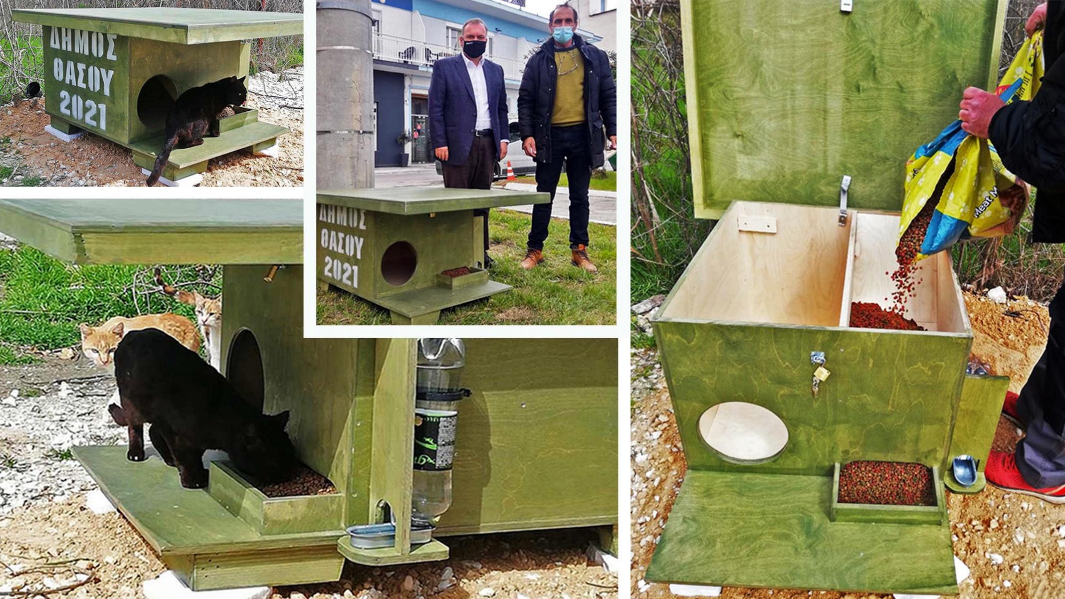 Θάσος: Ξύλινα σπιτάκια για αδέσποτα ζώα – Τροφή και στέγη (pics)