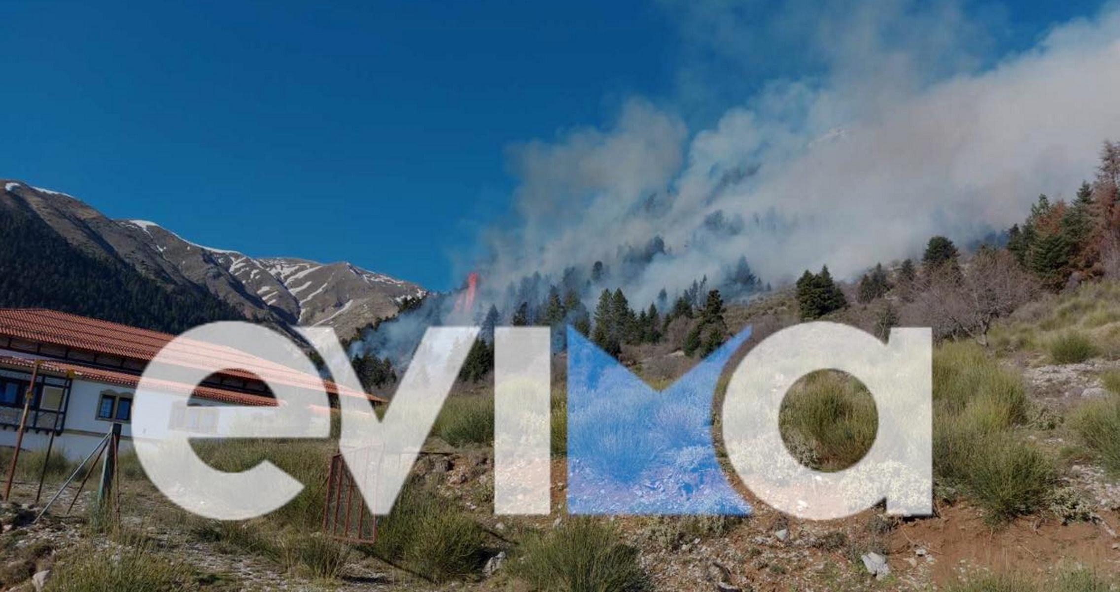 Φωτιά στο Καρπενήσι κοντά σε ξενοδοχείο – Καταφτάνουν πυροσβέστες από τη Φθιώτιδα (pics)