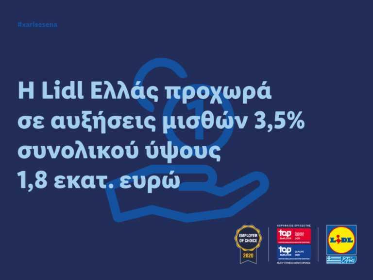 Η Lidl Ελλάς προχωρά σε αυξήσεις μισθών 3,5% συνολικού ύψους 1,8 εκατ. ευρώ