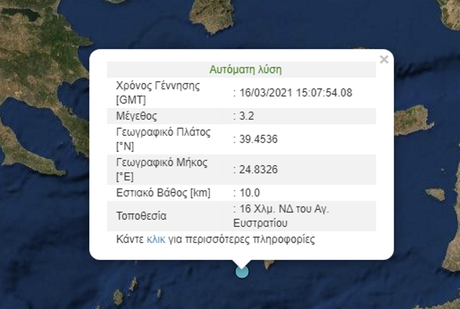 Σεισμός 3,2 ρίχτερ στον Άγιο Ευστράτιο