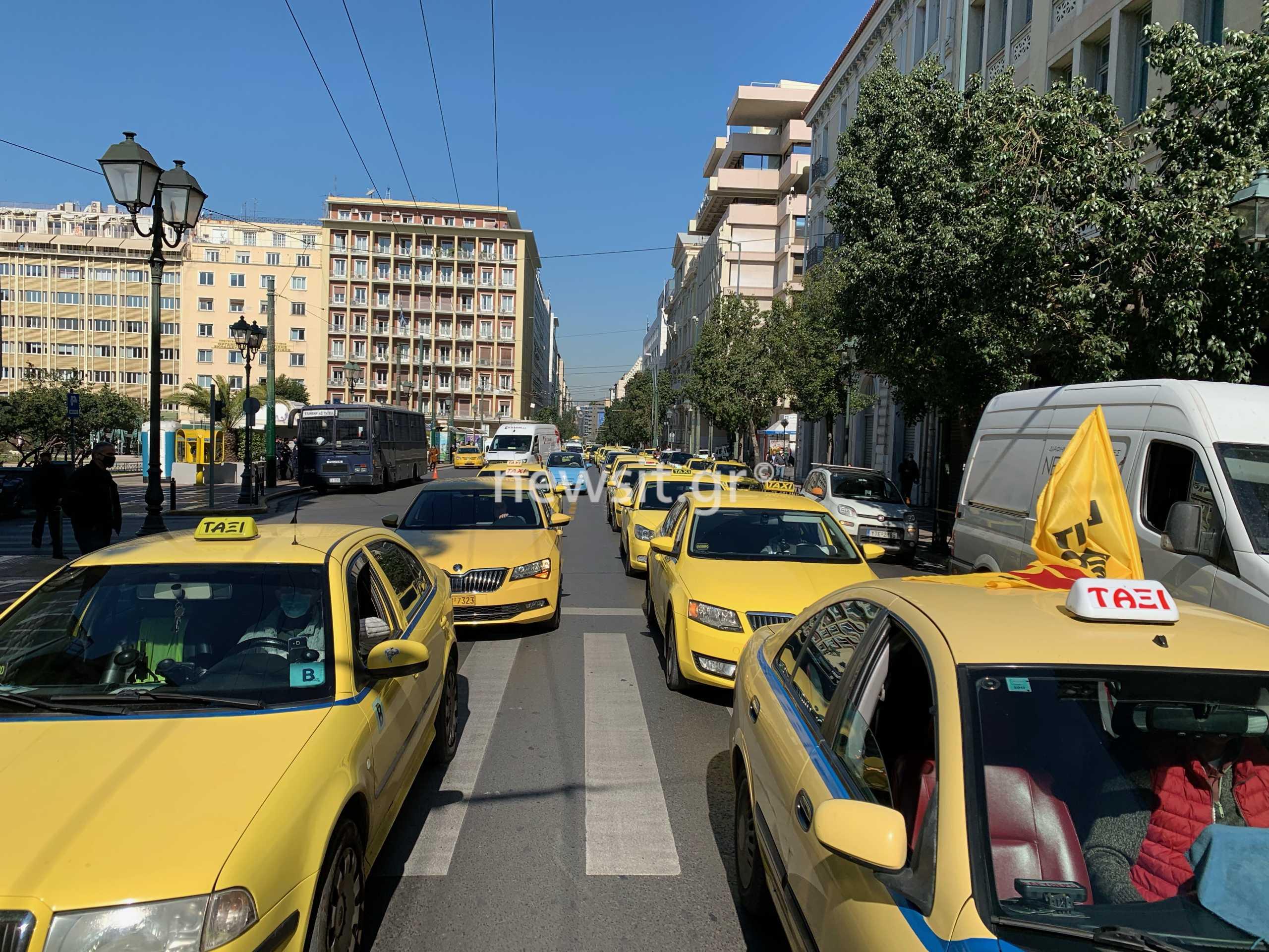 Πορεία ταξί στο κέντρο της Αθήνας (pics)