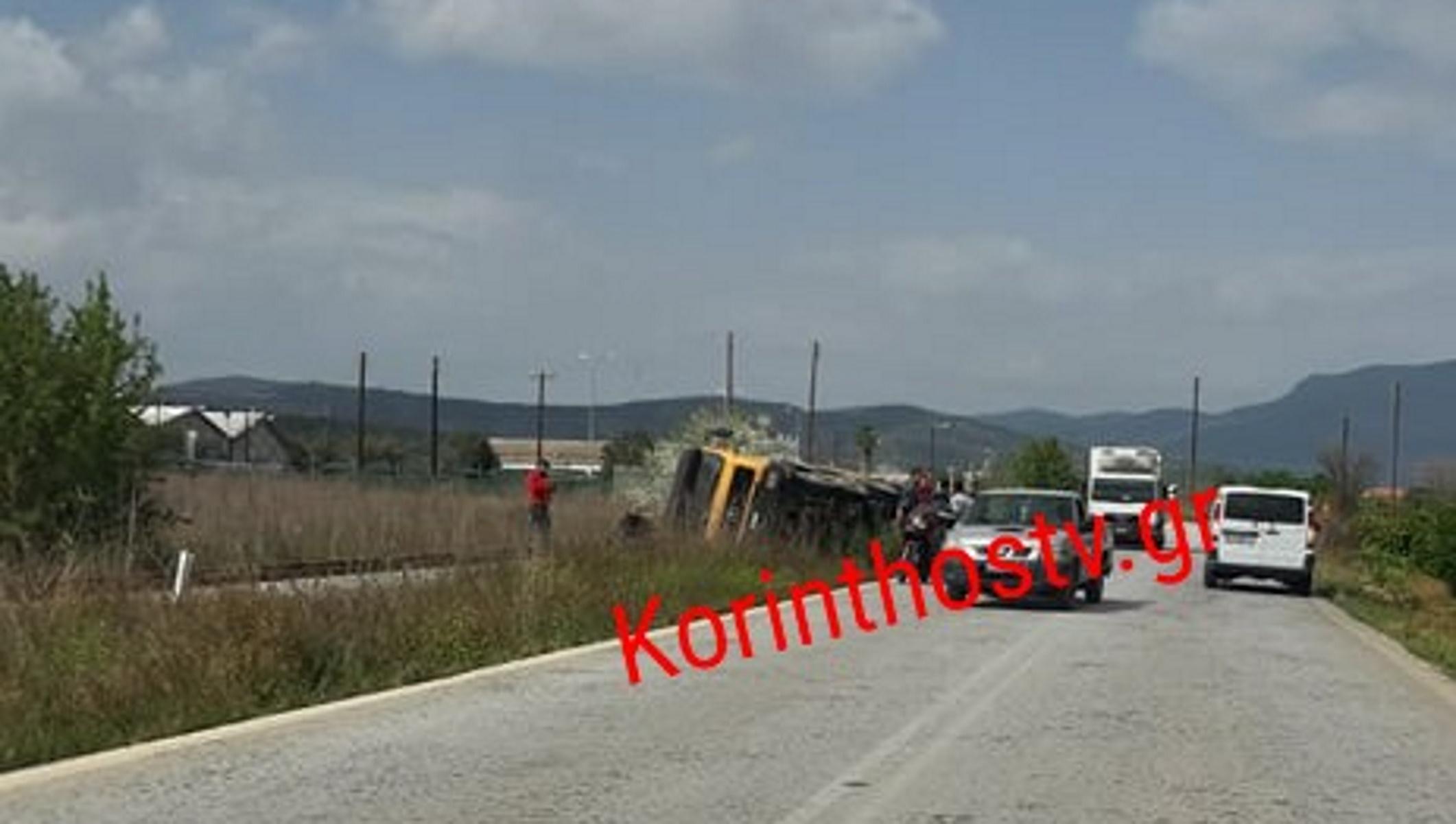 Φορτηγό ντελαπάρισε στις ράγες στην παλιά εθνική Κορίνθου – Άργους (pics)