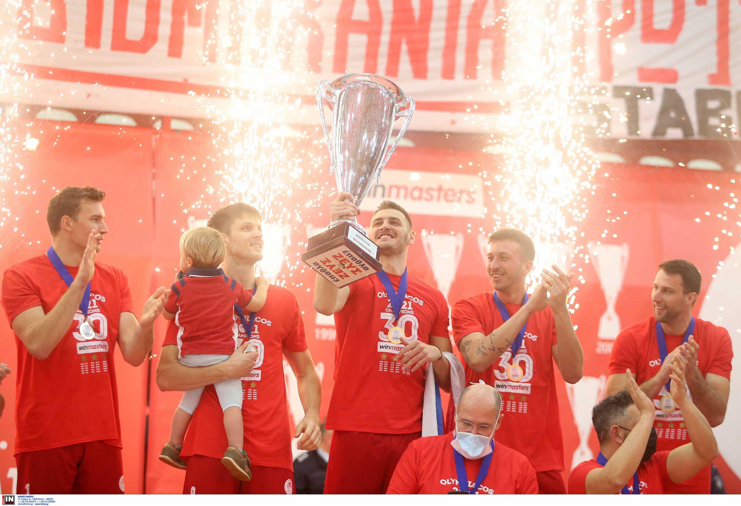 Ολυμπιακός: «Πάρτι» τίτλου με τον ΠΑΟΚ και απονομή του πρωταθλήματος της Volleyleague  (video)