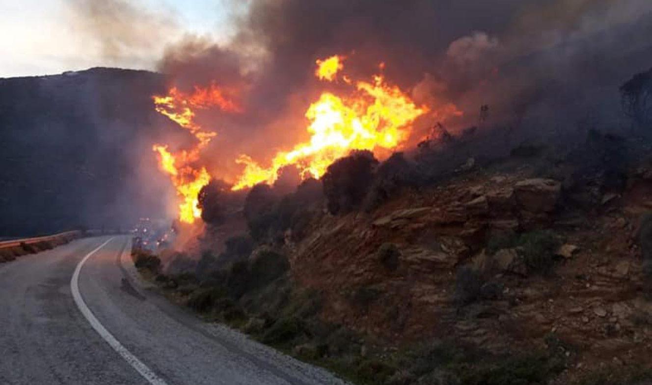 Μεγάλη φωτιά στην Άνδρο: Εκκενώθηκαν δυο οικισμοί, τραυματίστηκε πυροσβέστης (video)