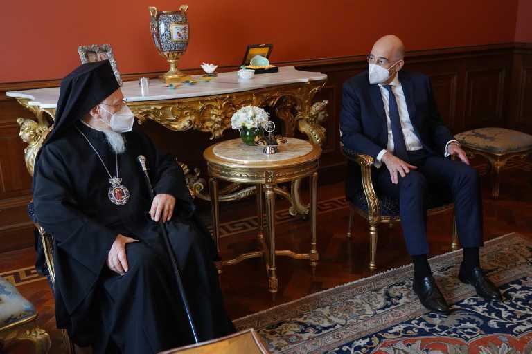 Συνάντηση Δένδια με τον Οικουμενικό Πατριάρχη Βαρθολομαίο στην Κωνσταντινούπολη (pics)