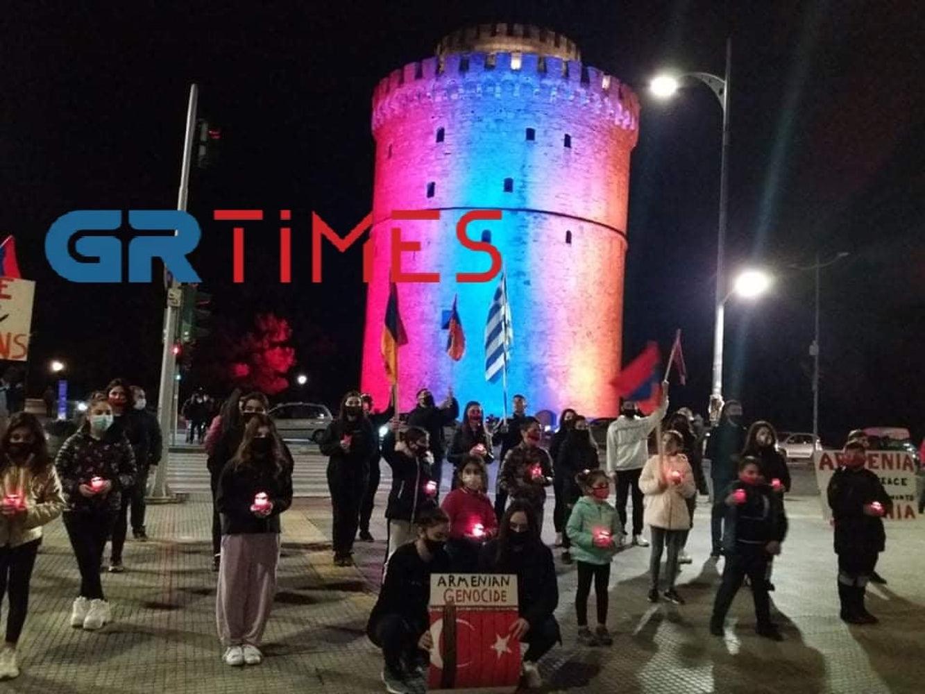 Στα χρώματα της Αρμενίας ο Λευκός Πύργος – Εκδηλώσεις με κεριά και πανό για την Γενοκτονία