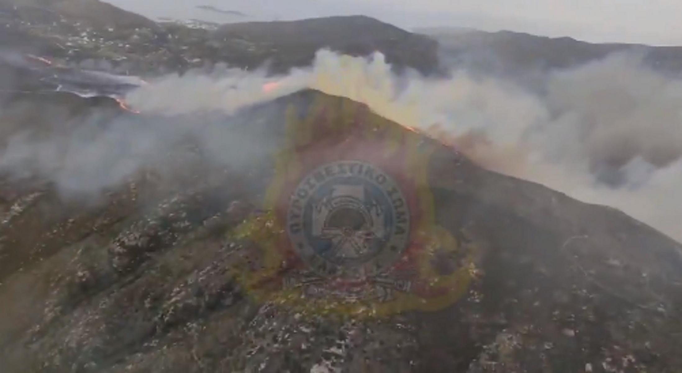 Φωτιά στην Άνδρο: Υπό μερικό έλεγχο το μέτωπο (video)