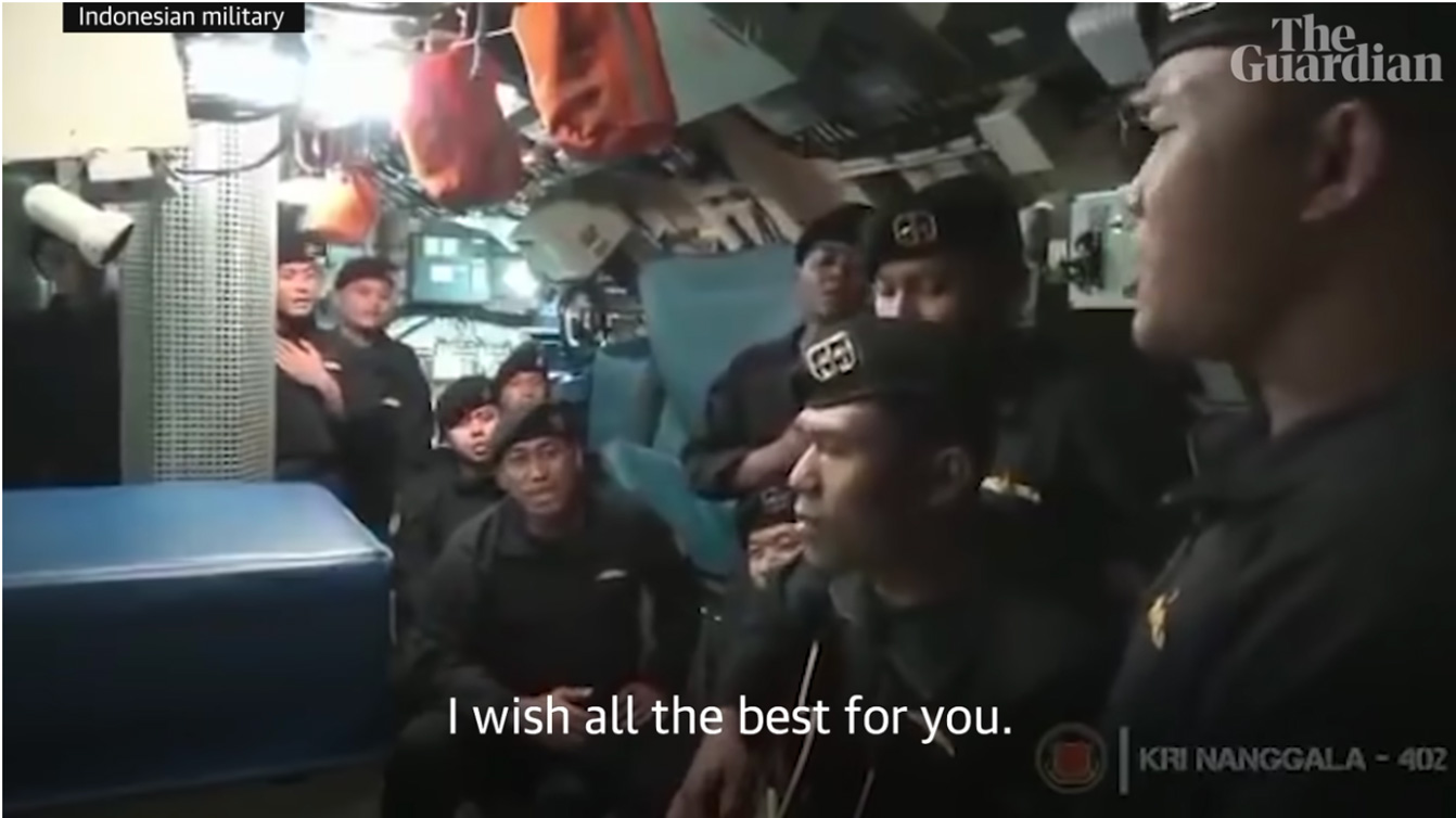 Ινδονησία: Τίποτα δεν προμήνυε την τραγωδία με το υποβρύχιο – Το video με το «αντίο» του πληρώματος