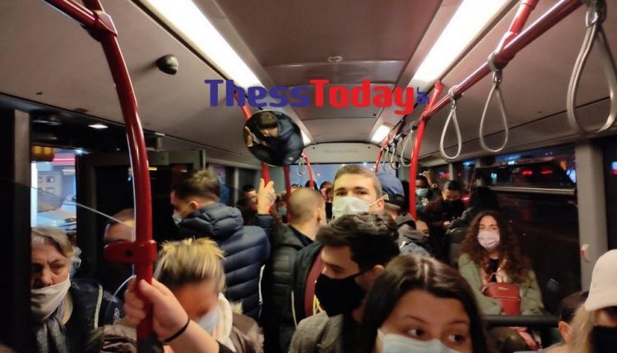 Τρελός συνωστισμός σε λεωφορείο στη Θεσσαλονίκη