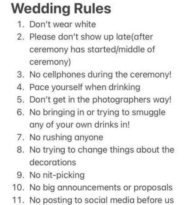 Κράξιμο στη μέλλουσα νύφη για τις 11 εντολές στους καλεσμένους του γάμου