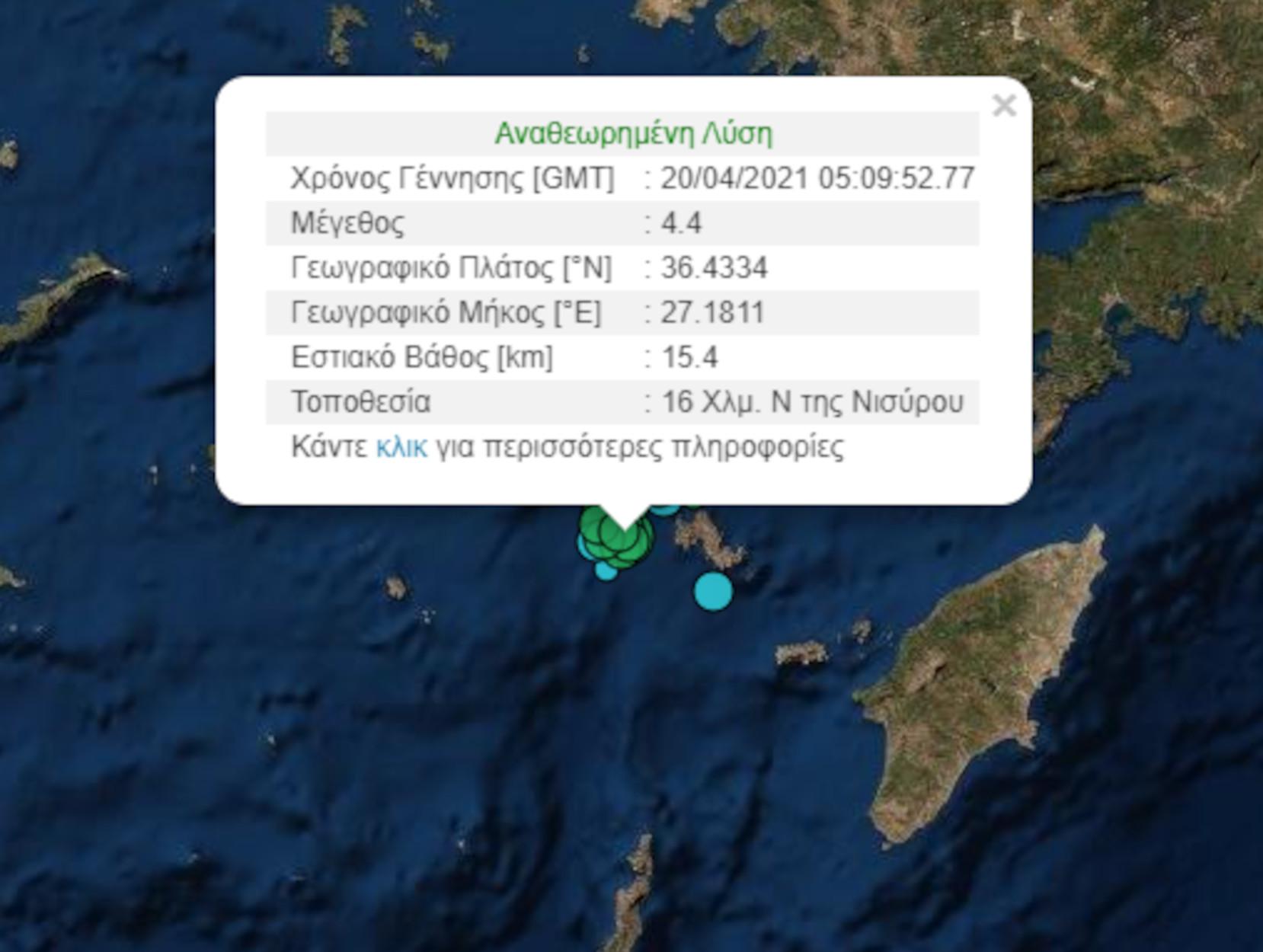 Σεισμός 4,4 Ρίχτερ στην Νίσυρο