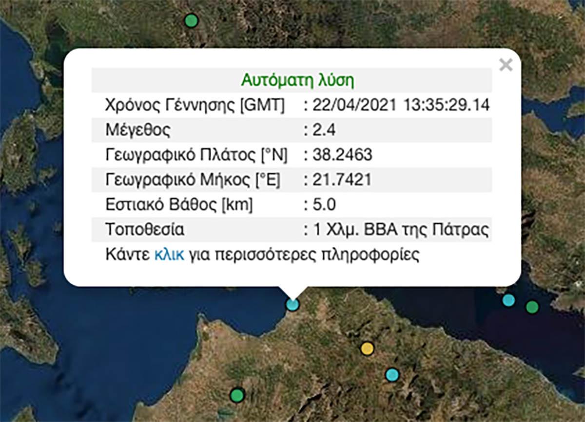 Σεισμός 2,4 ρίχτερ στην Πάτρα