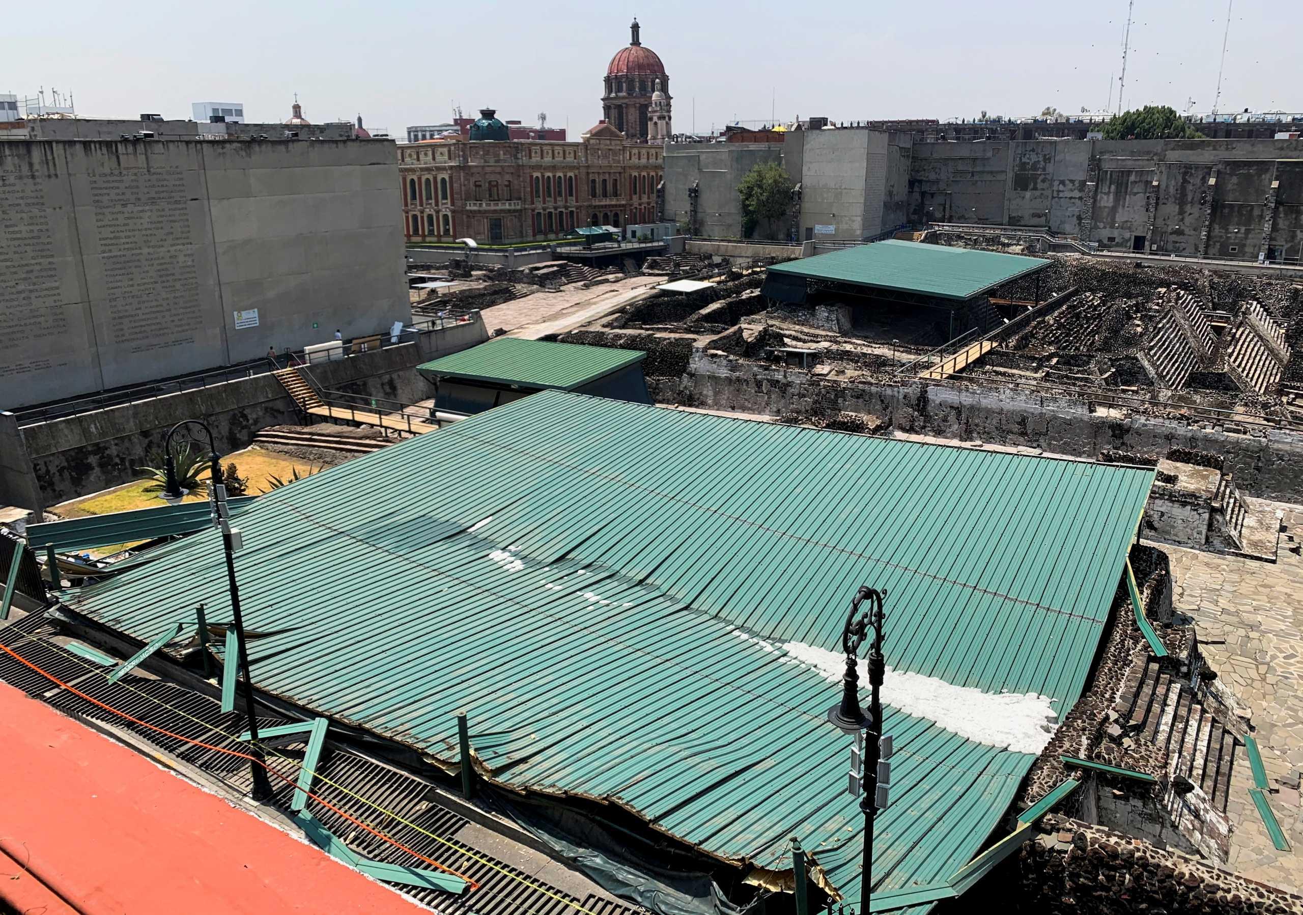 Μεξικό: Η στέγη που προστάτευε τον σημαντικότερο ναό των Αζτέκων κατέρρευσε από χαλάζι