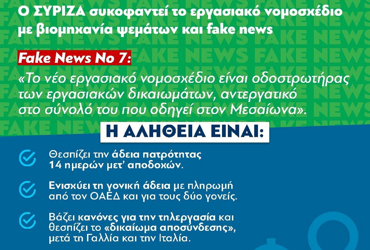 ΝΔ: Αυτά είναι τα επτά fake news του ΣΥΡΙΖΑ για το εργασιακό νομοσχέδιο