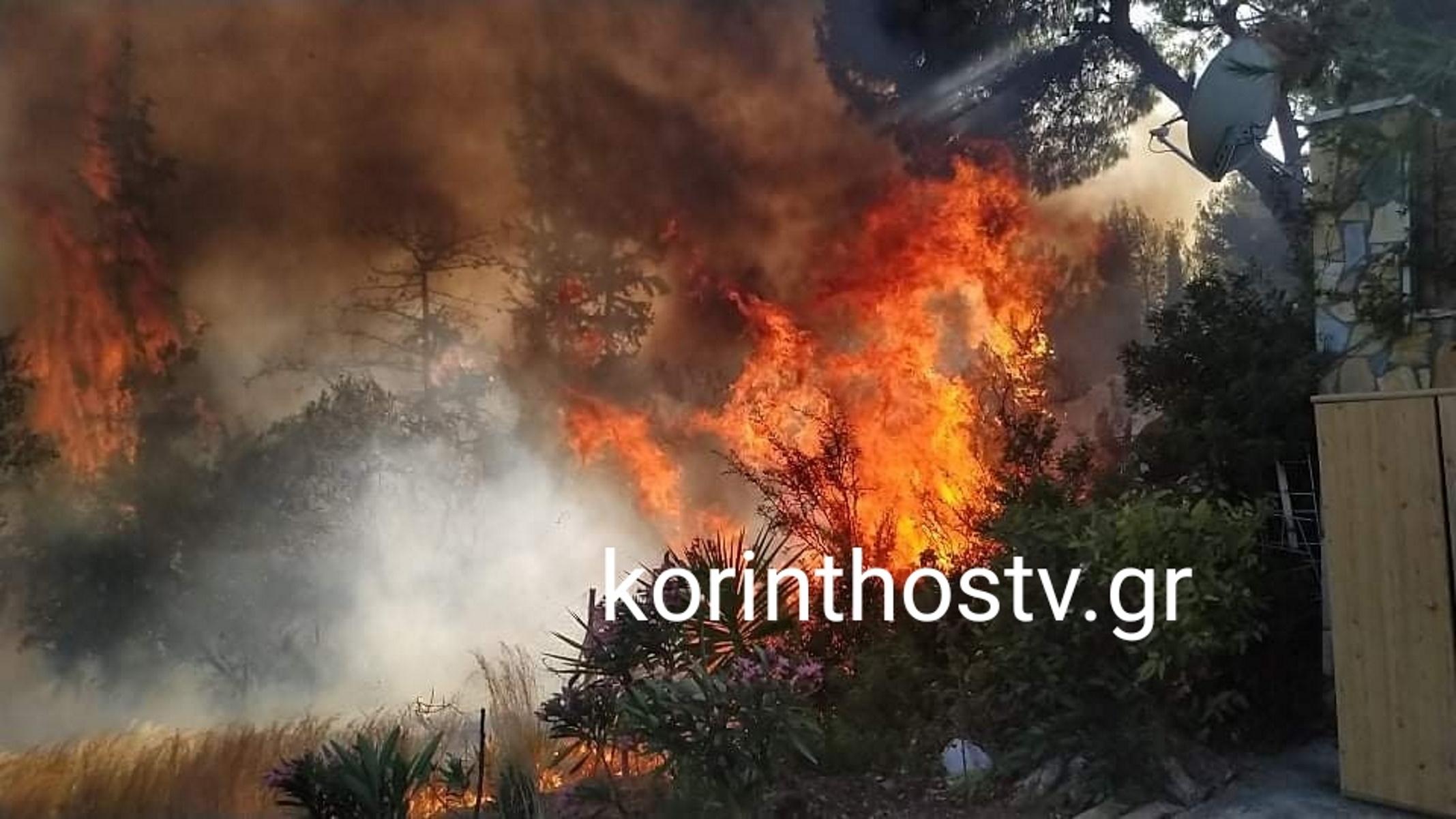 Μεγάλη φωτιά απειλεί σπίτια στα Ίσθμια Κορινθίας (pics, vid)