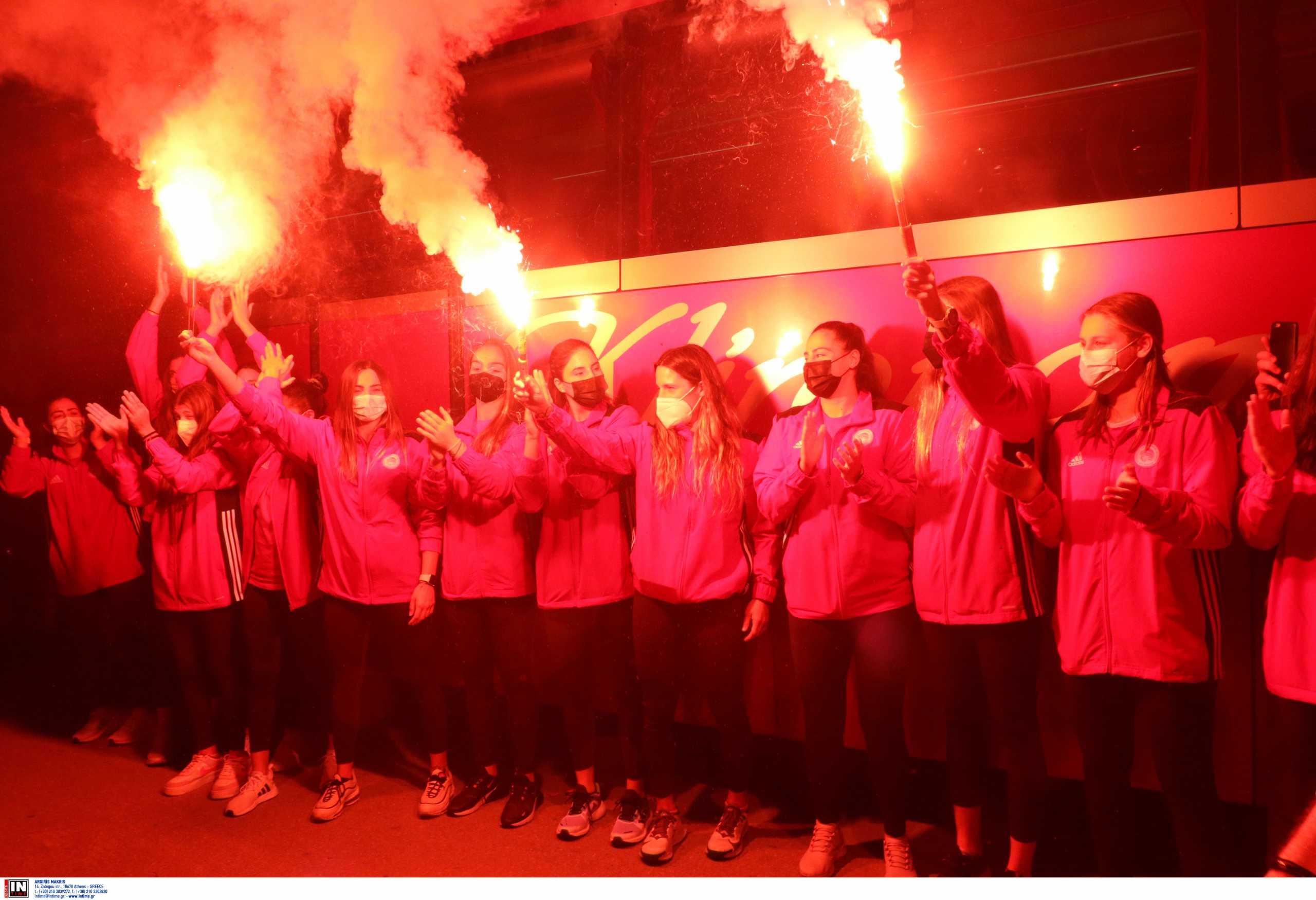 Ολυμπιακός: Ερυθρόλευκη «τρέλα», η υποδοχή για τις πρωταθλήτριες Ευρώπης