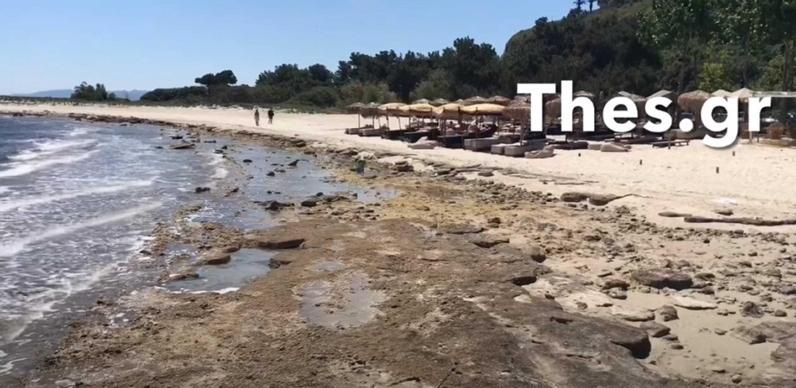 Χαλκιδική: Πήγαν για μπάνιο αλλά έλειπε η θάλασσα – Δείτε τις εικόνες της ημέρας στην Άφυτο (video)
