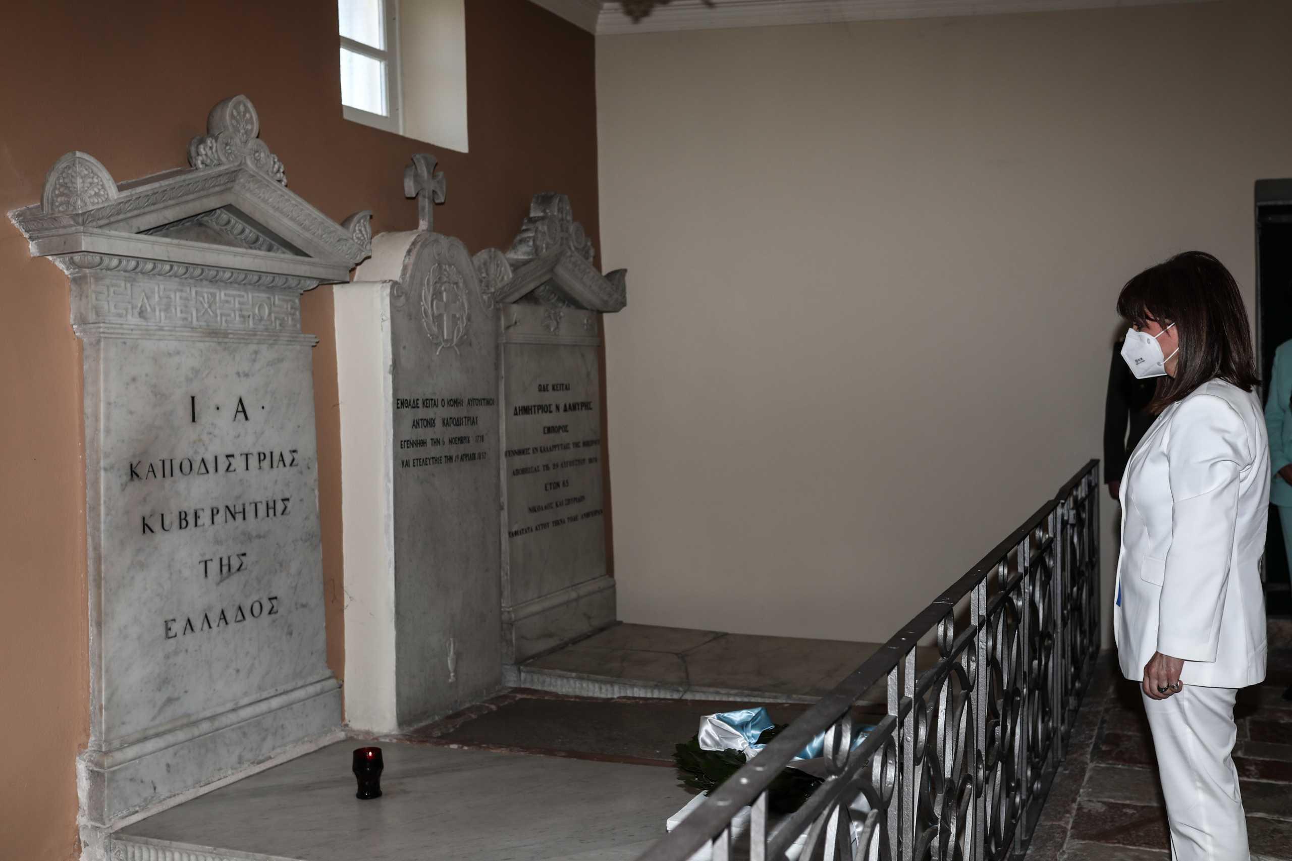 Κέρκυρα: Στεφάνι στον τάφο του Ιωάννη Καποδίστρια κατέθεσε η Κατερίνα Σακελλαροπούλου
