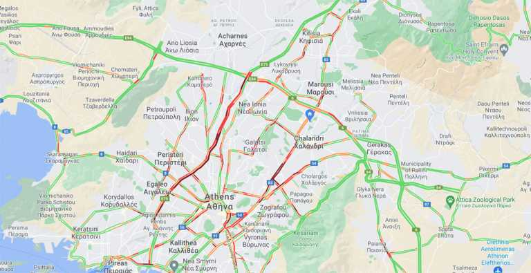 Απεργία: Απίστευτο μποτιλιάρισμα στον Κηφισό – Μπλοκαρισμένοι πολλοί δρόμοι