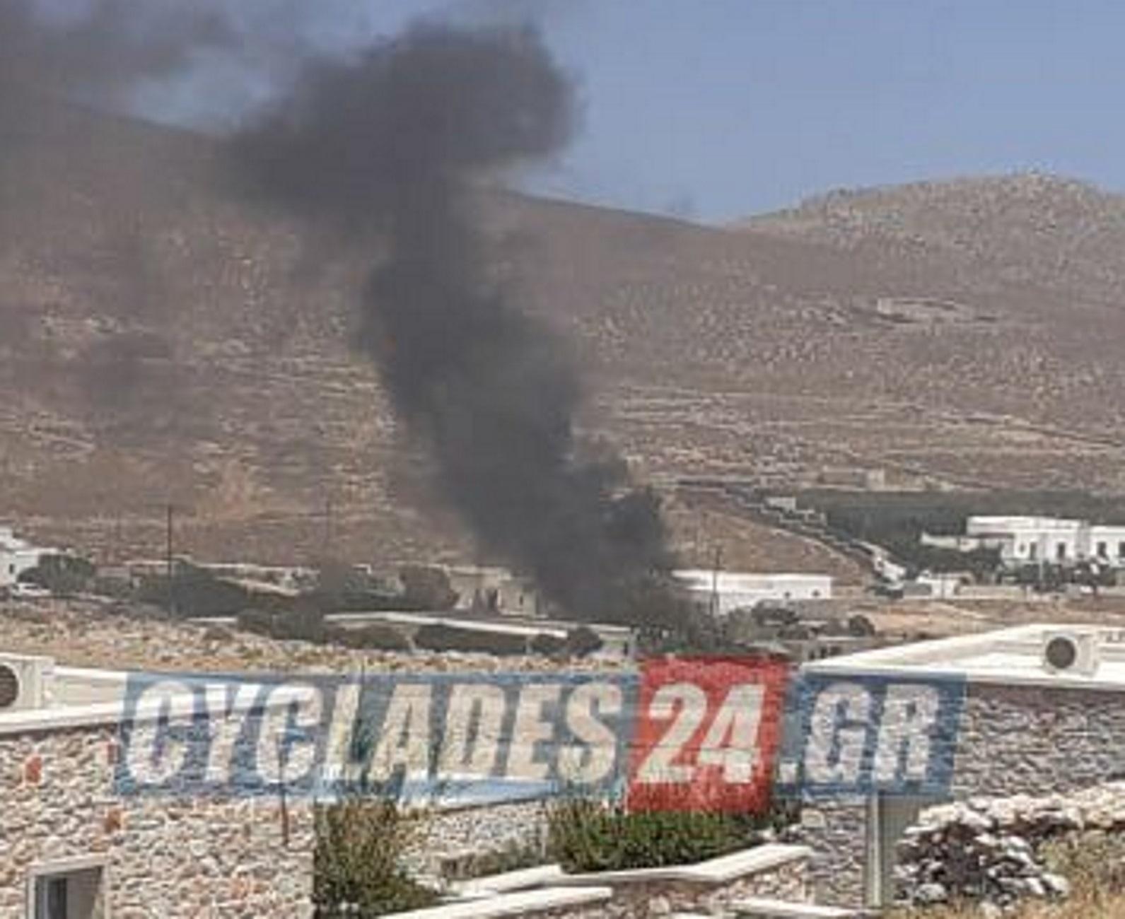 Φολέγανδρος: Φωτιά που ξέφυγε από συνεργείο – Αγώνας πυροσβεστών να την θέσουν υπό έλεγχο