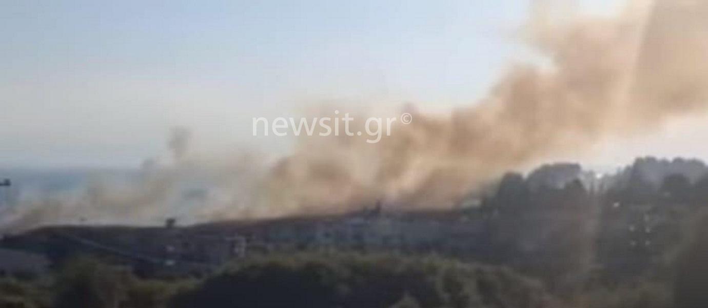 Θεσσαλονίκη: Μεγάλη φωτιά κοντά σε σπίτια