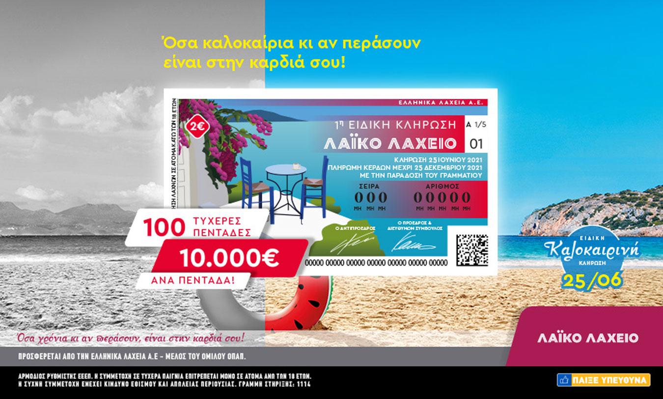 Το Λαϊκό Λαχείο μοιράζει 10.000 ευρώ σε 100 τυχερούς – Ειδική καλοκαιρινή κλήρωση την Παρασκευή 25 Ιουνίου