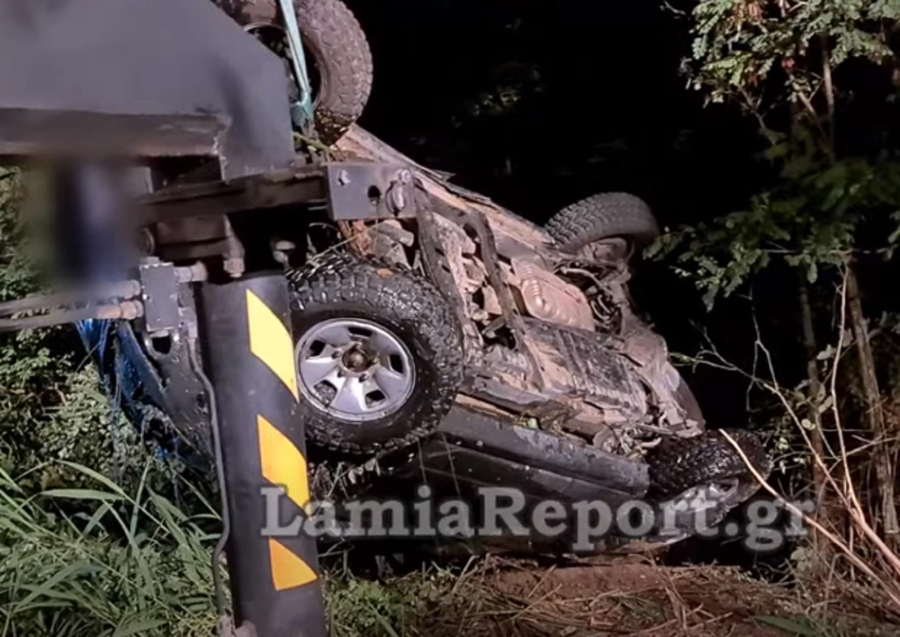 Λαμία: Εικόνες που κόβουν την ανάσα σε χαντάκι που ανατράπηκε τζιπ – Η έκπληξη με τον οδηγό