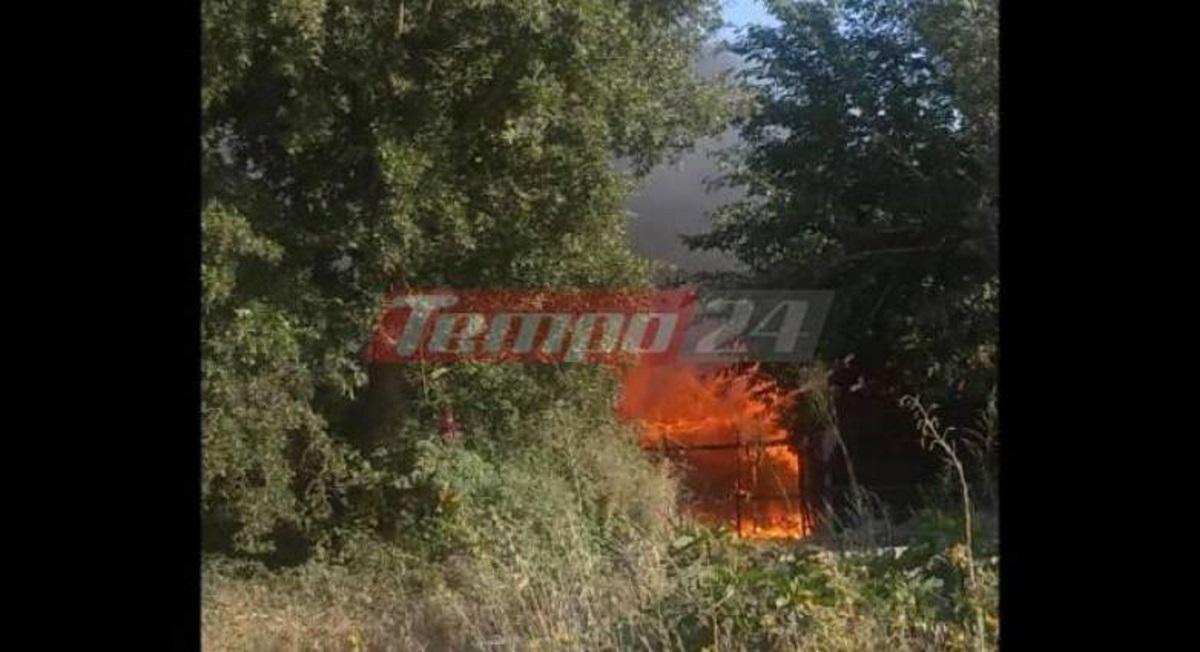 Φωτιά στη Νέα Μανωλάδα σε καταυλισμό εργατών γης