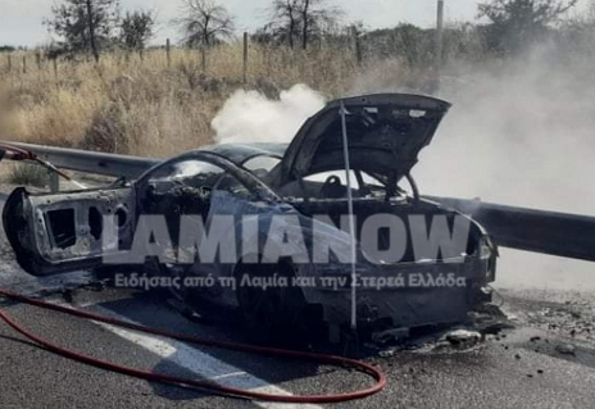 Φθιώτιδα: Πανάκριβο σπορ αυτοκίνητο πήρε φωτιά και έγινε στάχτη – Οι σκηνές του τρόμου