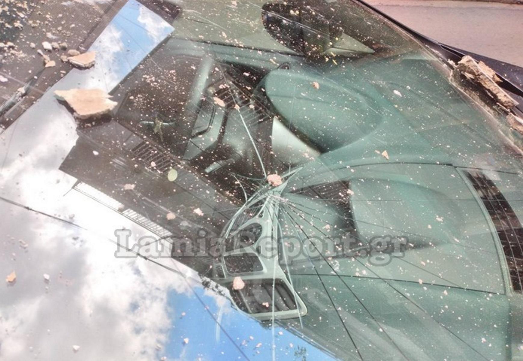 Λαμία: «Έβρεξε» σοβάδες – Είδαν τα αυτοκίνητά τους και δεν πίστευαν στα μάτια τους (pics)
