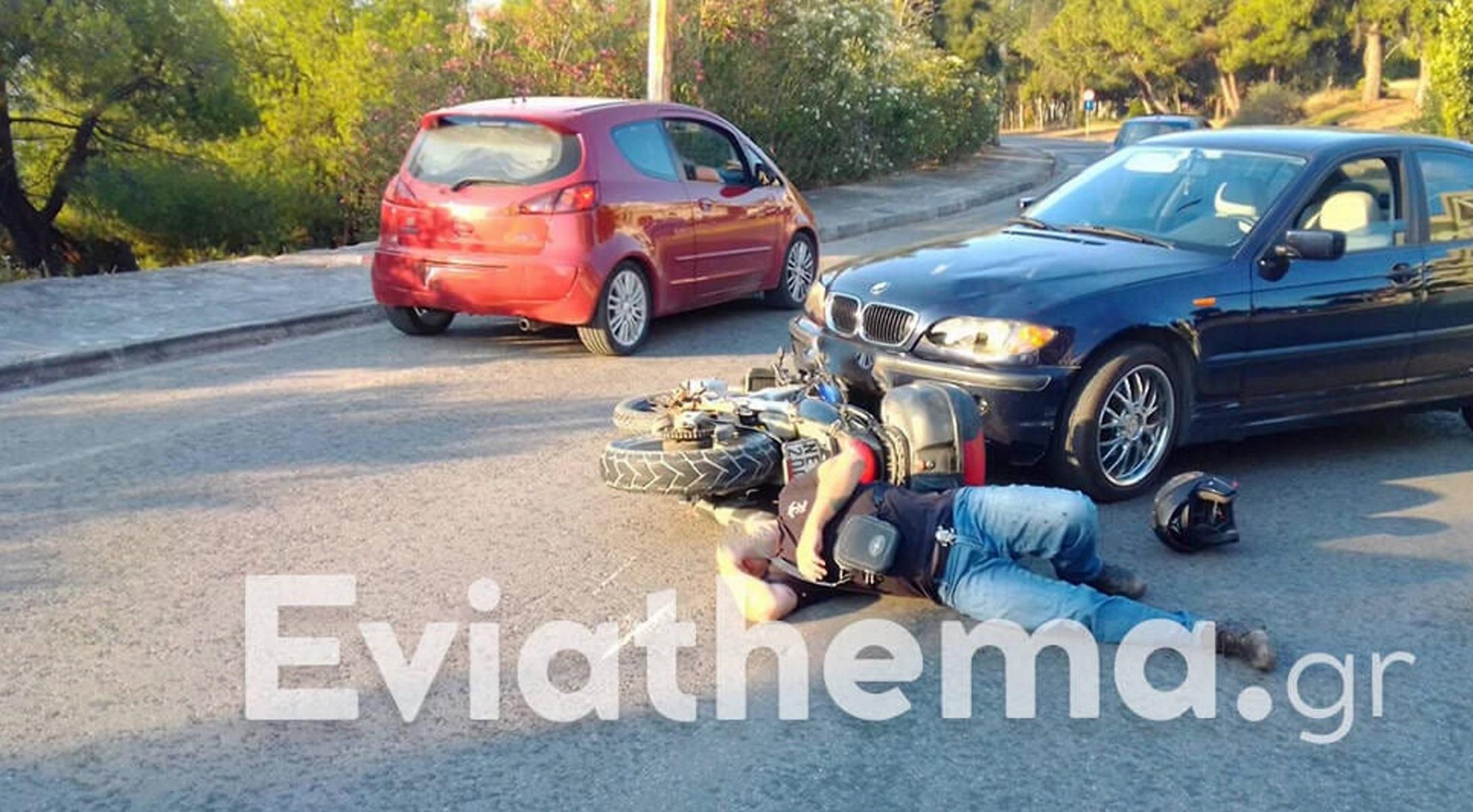 Χαλκίδα: Σφοδρή σύγκρουση αυτοκινήτου με μηχανή – Σοβαρά τραυματίας ο μοτοσικλετιστής (pic)