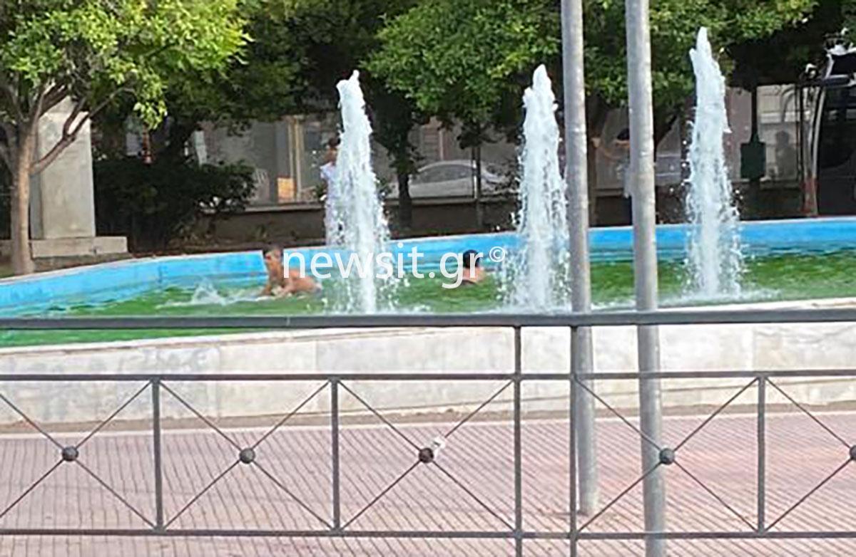 Πιτσιρικάδες έκαναν πισίνα το συντριβάνι κοντά στην Αλεξάνδρας