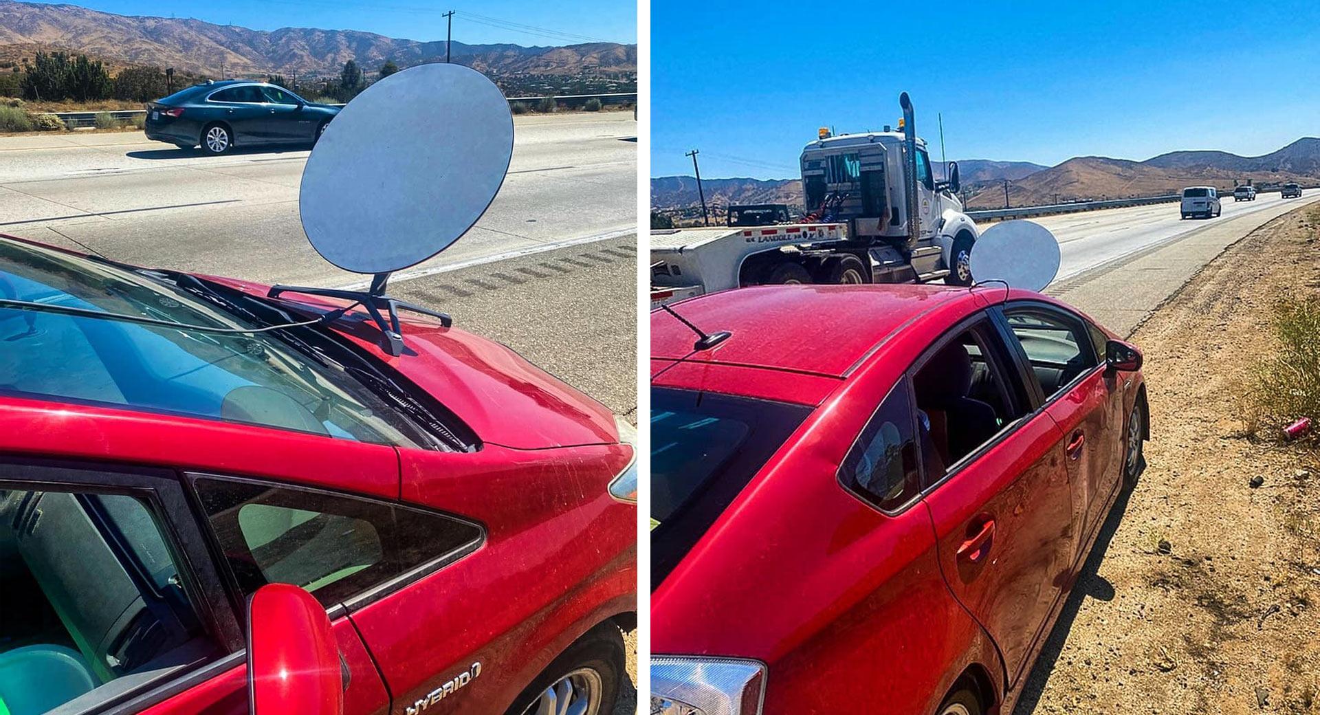 Έβαλε δορυφορικό πιάτο στο καπό του Toyota Prius για να έχει internet! (pics)